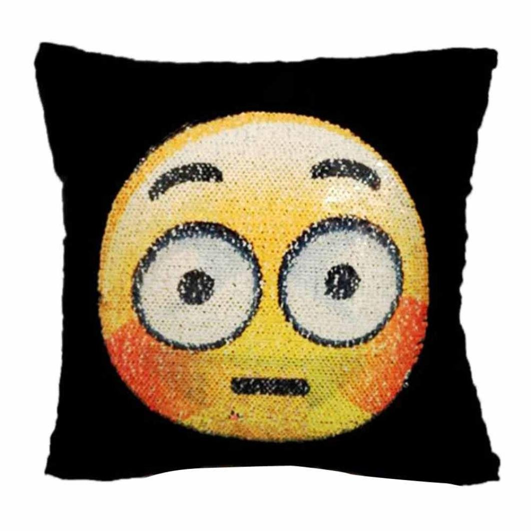 Fun Emoji Face Sequins Pillow Case, Naladoo Adorable Two Sides Two Moods Pillow Cover Case Cafe Home Decor Cushion New 16'' X 16'' (E) IU32566436436