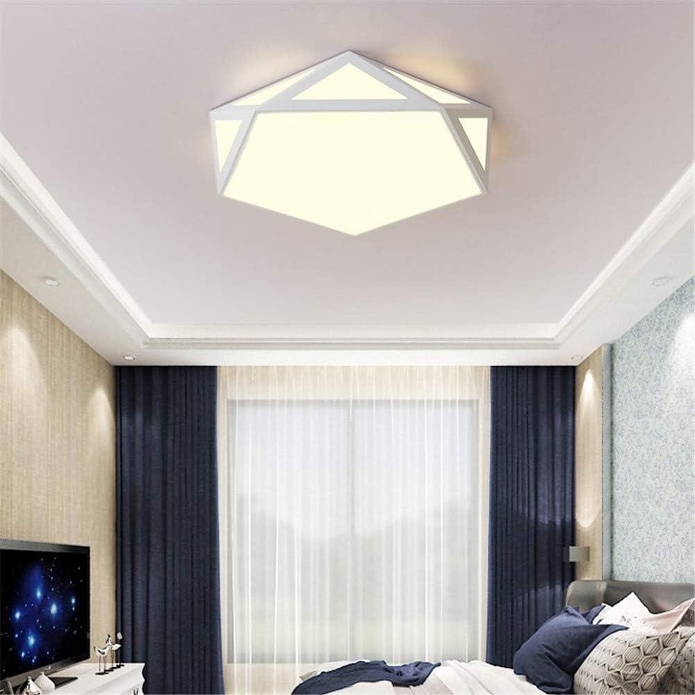 Luz de techo, luz de techo LED, luz de techo geométrica hueca, luz de balcón de estudio de hierro forjado, sin luz de poste + control remoto, 24W/42CM