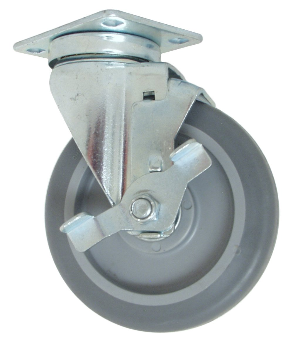 1-1//4 Wheel Width Ball Bearing 2-5//8 Plate Width RWM Casters VersaTrac 27 Series Plate Caster 5 Wheel Dia 3-3//4 Plate Length TPR Rubber Wheel 6-5//16 Mount Height Swivel with Brake 300 lbs Capacity
