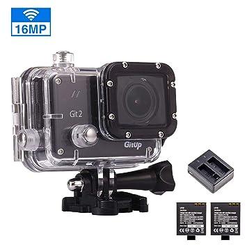 gitup - Cámara de acción GIT2 2880P HD de 16 MP, Impermeable, WiFi, 170 °, Gran Angular, Sensor Sony con 2 baterías Recargables y Cargador Doble