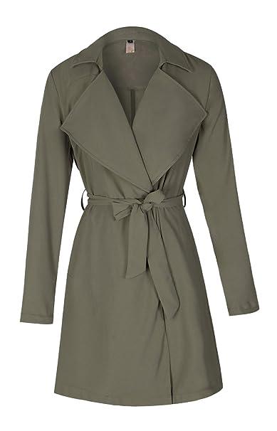 the best attitude 5c04b 7c32f ELFIN® Damen Mantel Knielang, Trenchcoat mit Taschen und Taillengürtel,  Cardigan Lang und Kurz