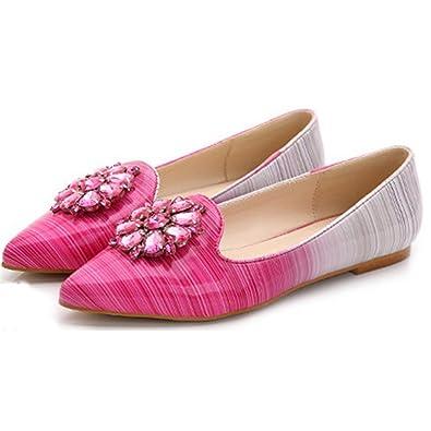 Xianshu Damen Strass Streifen Steigung Farbe Flachen Mund Spitz flache Schuhe(Violett-34) 2bKU3
