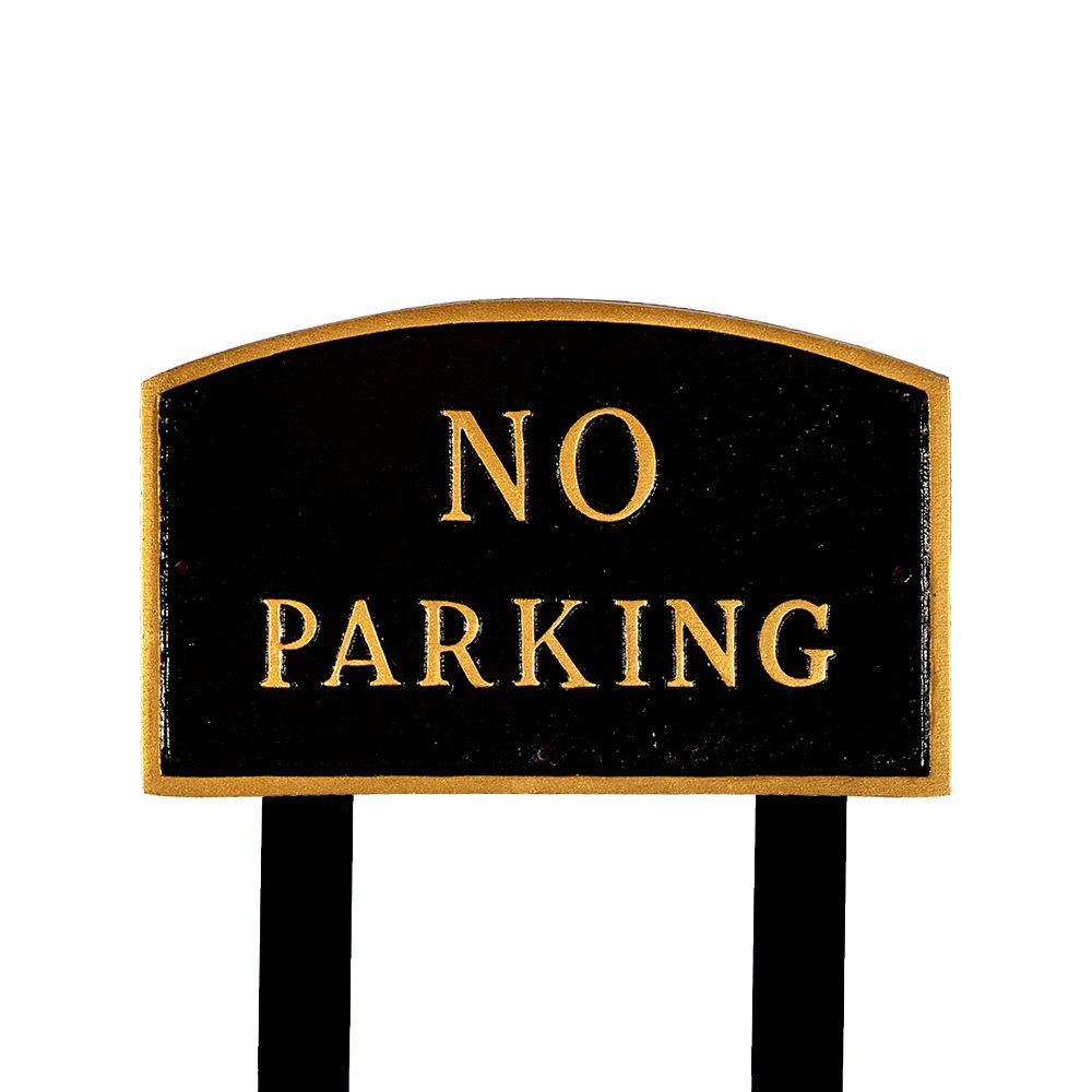 Montague Metal Products SP-8L-BG-LS Large Black and Gold No Parking Arch Statement Plaque with 2 23-Inch Lawn Stakes