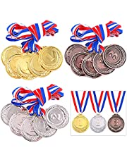 Keadic 15 Pieces Gold Silver Bronze Award Medals - Olympic Style Metal Winner Medals with Neck Ribbon Bulk - First Second Third Winner - Great for Party Favor Decorations and Awards Ceremonies