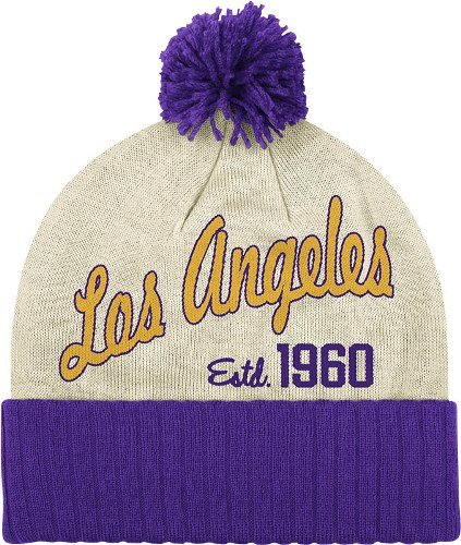 Los Angeles Lakers NBA Adidas Originals Throwback Retro Date Knit Hat w/ Pom by adidas