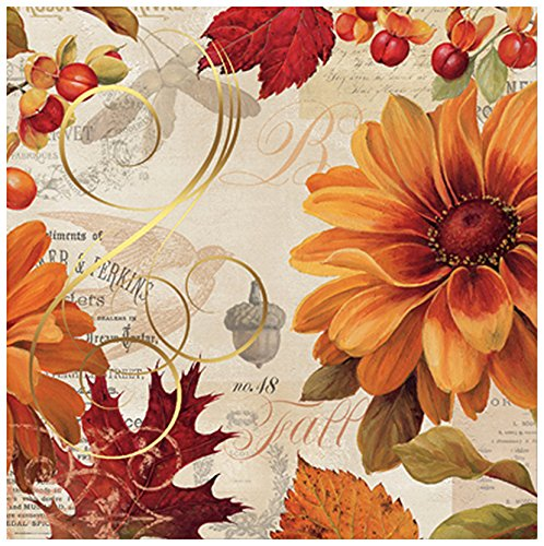 C.R. Gibson Fall Flowers 20 Count Beverage Napkins, Red/Orange