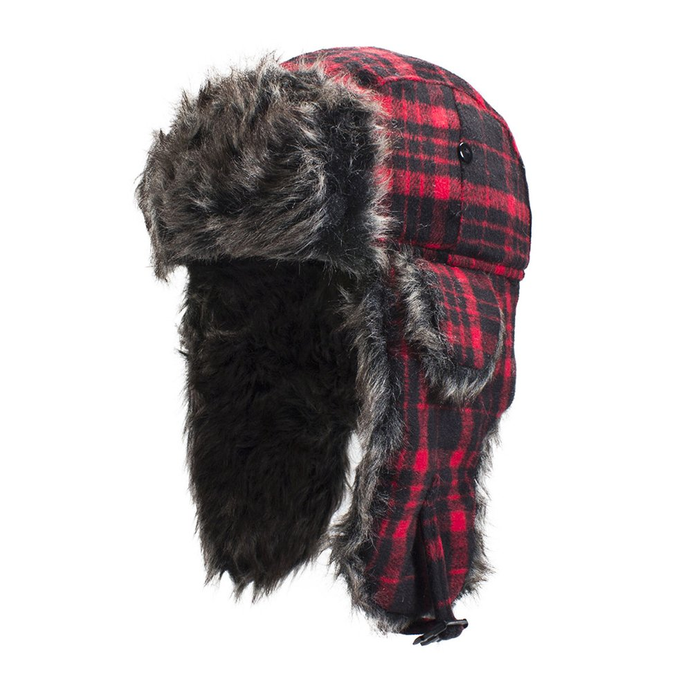 Zanheadgear WTH068 Trooper Hat with Grey Fur (Buffalo Plaid, One Size)