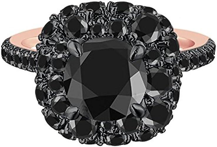Silverraj Jewels 14K Black Gold Plated Round Black Simulated Diamond Studded Wedding /& Engagement Ring