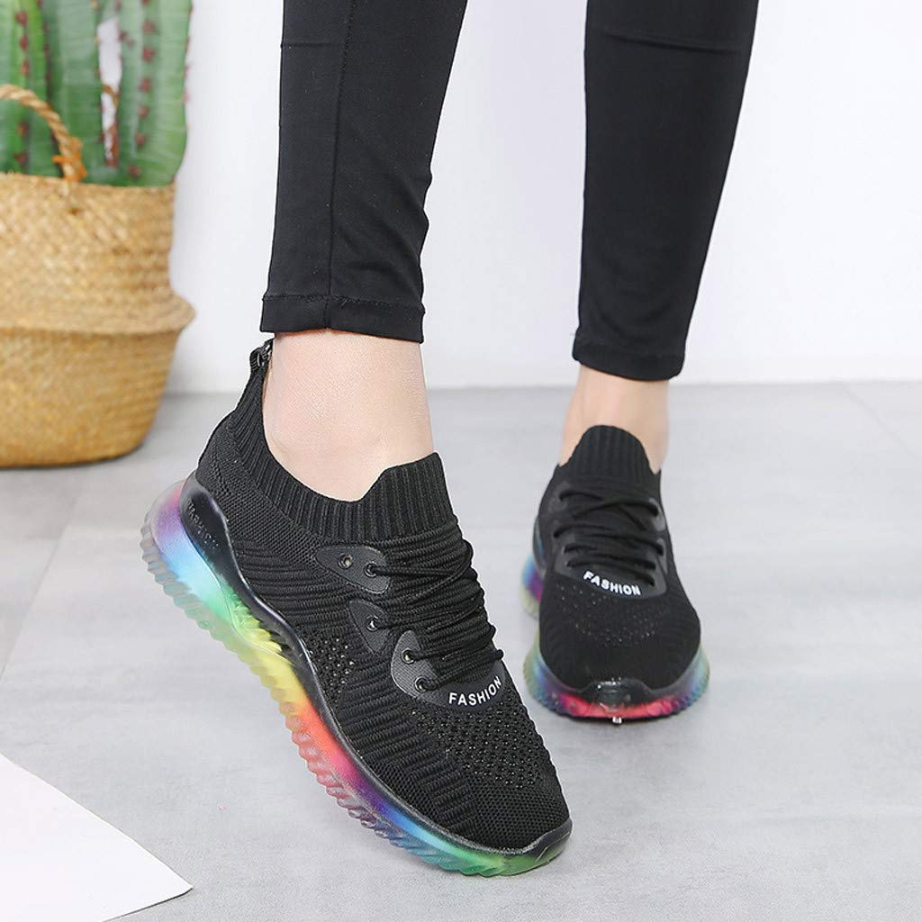 Women's Breathable Casual Sneakers Trend Woven Rainbow Jelly Soles Outdoor Sport Running Slip-on Shoes by Dacawin_Women Sport Shoes (Image #4)