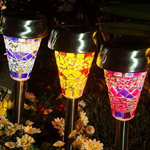 GIGALUMI Solar Garden Lights Outdoor, 3 Color Mosaic Lampshade LED Garden Lights, Landscape/Pathway Lights for Path Walkway Driveway Patio Yard Stainless Steel-3 Pack