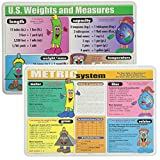 Painless Learning Educational Placemats Sets Metric System and US Weights & Measures Placemat Non Slip Washable