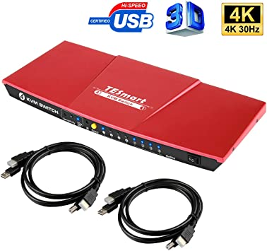 TESmart Ultra HD 4K 2 Port 2x1 HDMI KVM Switch USB 2.0 3840*2160@30hz hot keys