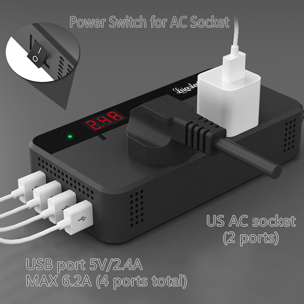 200W Car Power Inverter DC 12V to AC 110V Converter with Smart 4 USB Ports Adapter 2 AC Outlets Sockets Charger (Black) by LEICESTERCN (Image #8)