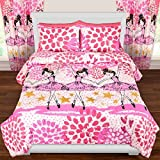 OSD 3pc Girls Dancing Ballerina Comforter Full/Queen Set, Ballet Dancers, Stars Pattern, Twinkle Toes, Pink White Purple, Dance Themed Bedding, Pretty Hearts Polka Dots, Paint Splash Design