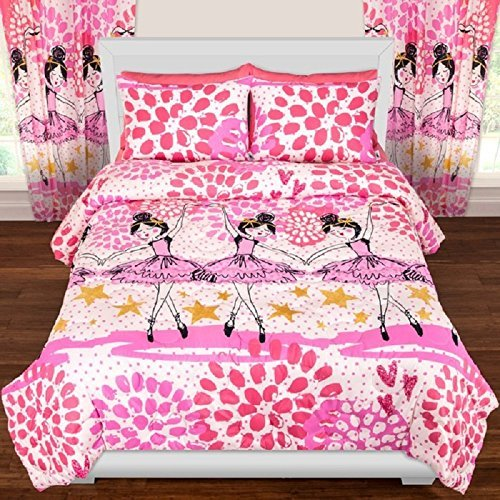 OSD 3pc Girls Dancing Ballerina Comforter Full/Queen Set, Ballet Dancers, Stars Pattern, Twinkle Toes, Pink White Purple, Dance Themed Bedding, Pretty Hearts Polka Dots, Paint Splash Design