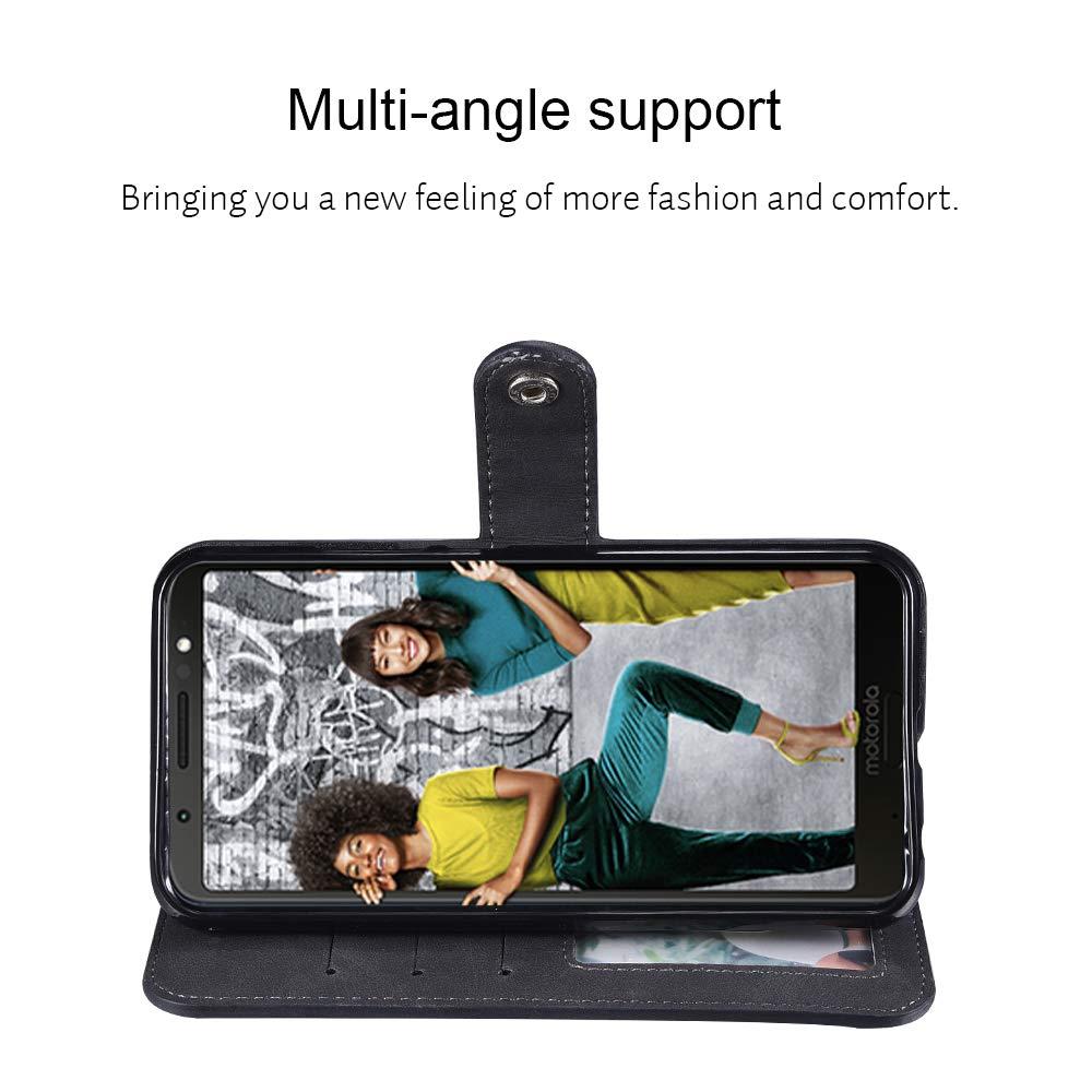 Moto G6 Plus Case,Moto G6 Plus Wallect Case, Flip Leather Case 5 Cards / 1 Photo Slot/Cash Pocket PU Cover with Wrist Strap [Wallet Stand] Phone Case for Moto G6 Plus (Black) by okasis (Image #2)