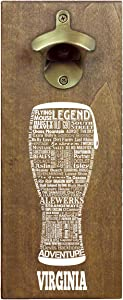 Torched State Craft Beer Typography Magnetic Beer Bottle Opener with Cap Catcher (Virginia) | Wall Mounted Bottle Opener Refrigerator Magnet | Makes a Great Gift for Men, Beer Lovers, and Collectors
