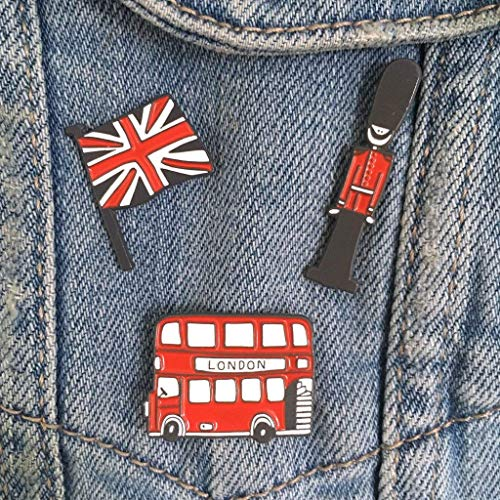 (SET OF 3 - London Bus, Queen's Guard, Union Jack Enamel Pin Badges - Made in Britain)