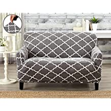 Modern Velvet Plush Strapless Slipcover. Form Fit Stretch, Stylish Furniture Shield / Protector. Magnolia Collection Strapless Slipcover by Great Bay Home Brand. (Loveseat, Grey)