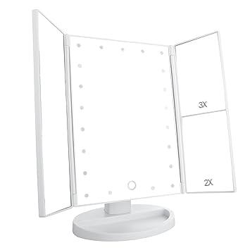 LEJU Led Lighted Vanity Mirror Make Up Tri Fold With 3X 2X