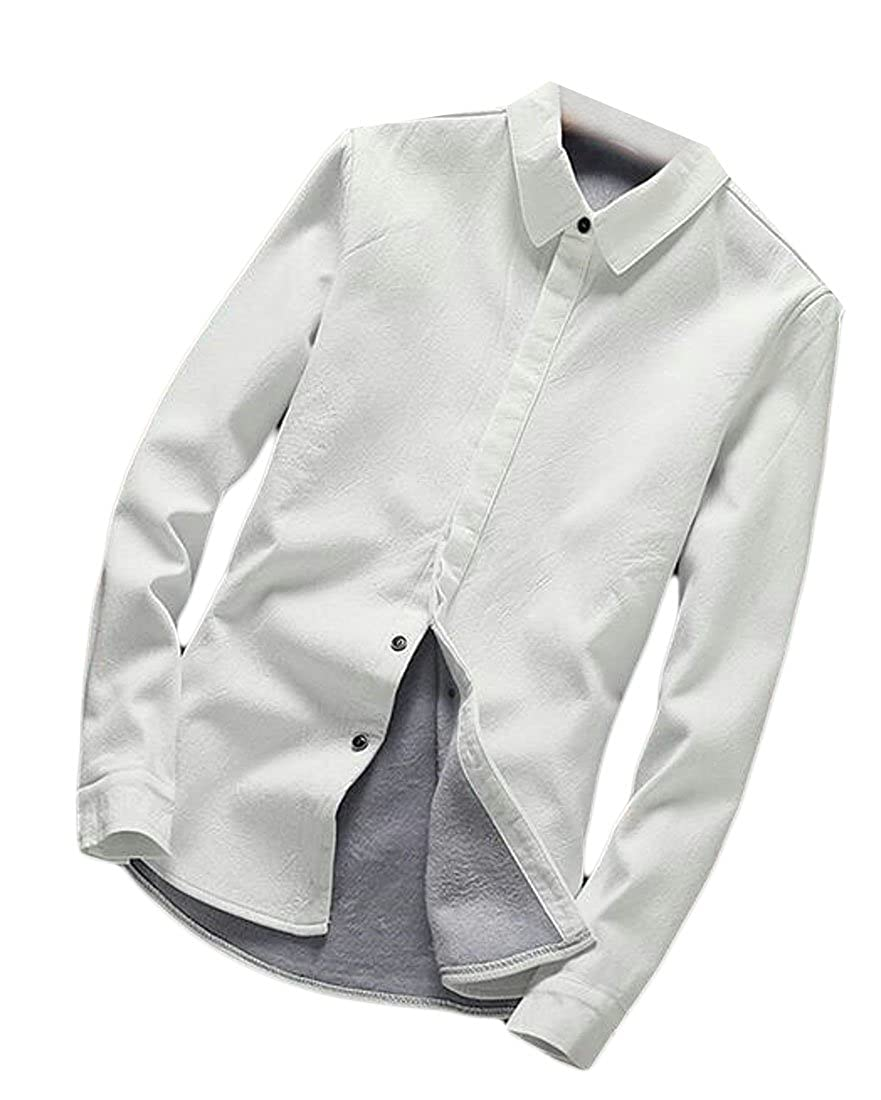 FLCH+YIGE Mens Solid Long Sleeve Fleece Lined Slim Fit Button Down Shirt
