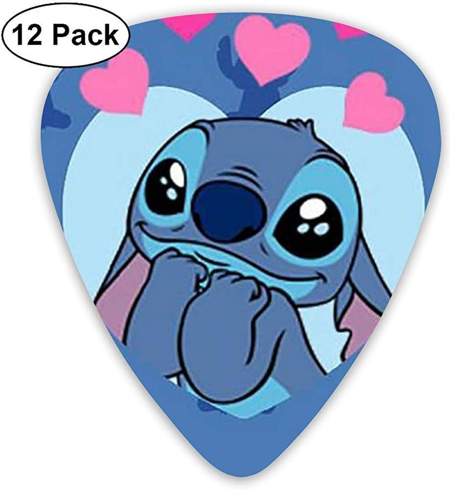 Stitch Fall in Love Púas para guitarra, paquete de 12 diseños únicos Elegantes púas coloridas para guitarras bajas, eléctricas y acústicas