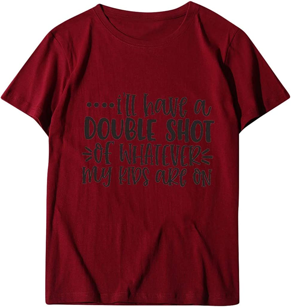 Womens Casual Short Sleeve Round Neck Letter Printed Blouses Slim Tops Tunics T-Shirt