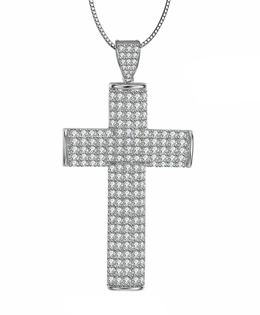 Aooaz Womens Ladies Silver Pendant Necklace Retro Christ Cross Elegant Cubic Zirconia Wedding Promise by Aooaz