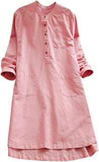 Women Retro Half Sleeve Loose Shirt Dress Ladies Solid Color V Neck Pocket Button Fitting Tunic Top