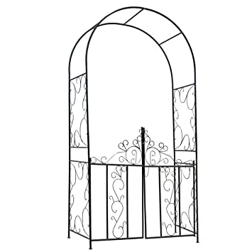 HollyHOME Decorative Metal Garden Arch With Gate, Perfect For Climbing  Plant, Outdoor Lawn Yard