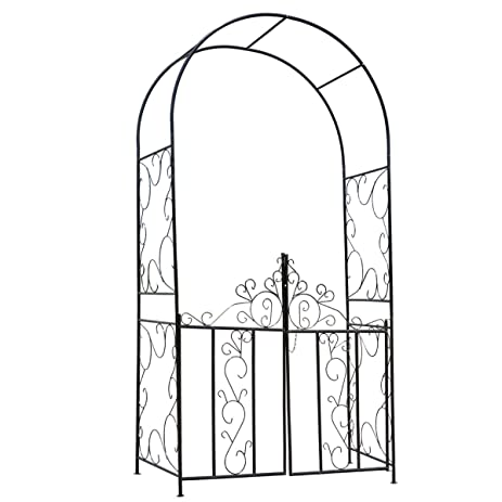 Amazoncom HollyHOME Decorative Metal Garden Arch with Gate
