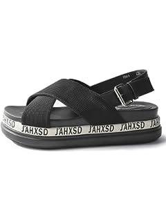HUAHUA Version Coréenne De L'Été Chaussures Plates Sandales Femme avec des Fées dans Le Clip De Ceinture De Rosée Sandales Fille Chaussures Gâteau Pin Épais I223E