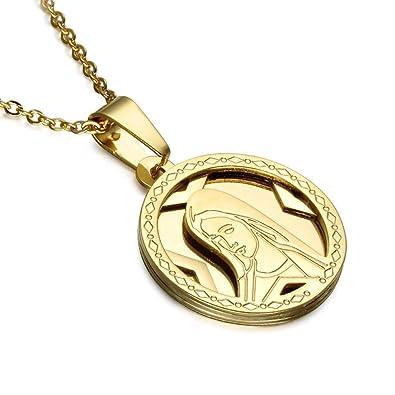 6c5810a51d0a BOBIJOO Jewelry - Colgante Redondo de la Medalla de la Virgen María de Acero  Dorado Acabado en Oro para Las Mujeres + de la Cadena de 55cm  Amazon.es   ...