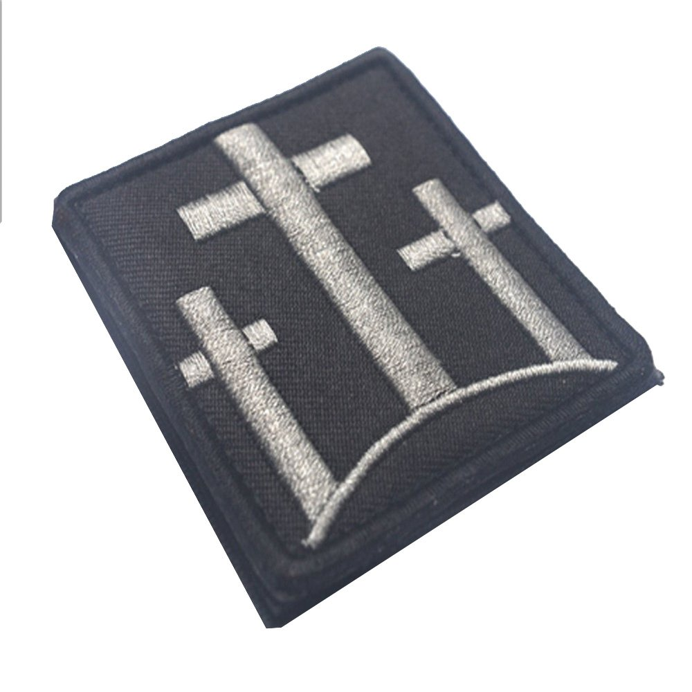 KingNew Embroidered Sew Iron on Patch JESUS CHRIST CROSS Patch (Gray)