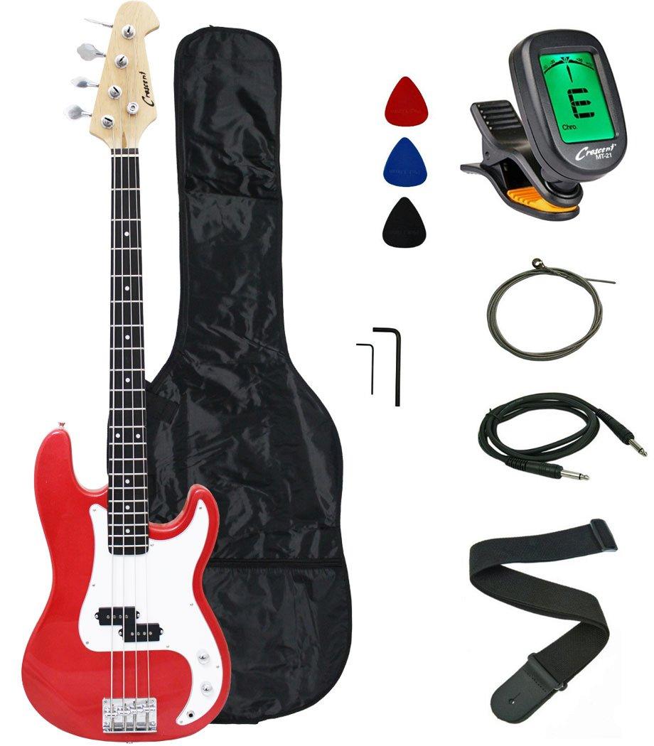 Crescent Electric Bass Guitar Starter Kit - Red Metallic Color (Includes CrescentTM Digital E-Tuner)