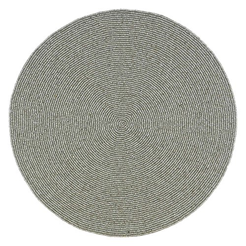 Silver Indian Handmade Beaded Placemat – 14-Inch Place Mat for Fine Dining
