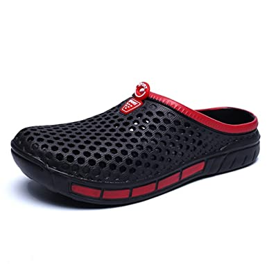 New Summer Men Sandals Fashion Hollow Out Breathable Beach Slippers Flip Flops Black 7.5