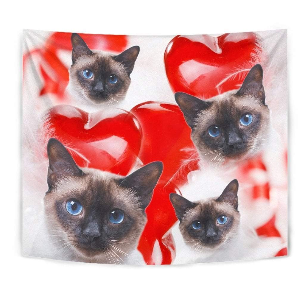 Cute Siamese Cat Print Tapestry by Paws With Attitude