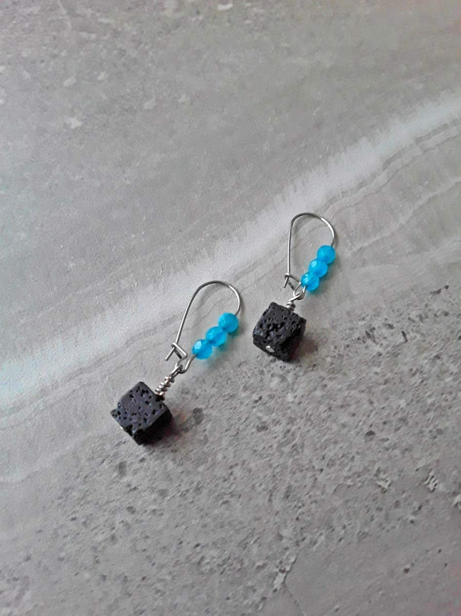 Aquamarine and Lava Stone Essential Oil Diffuser Kidney Hook Earrings Stainless Steel