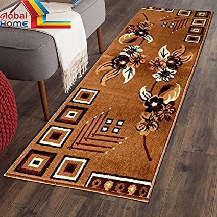 Global Home Runner Carpet for Bedroom/Kitchen/Hall -22X55 Inch - Color Camel Gold