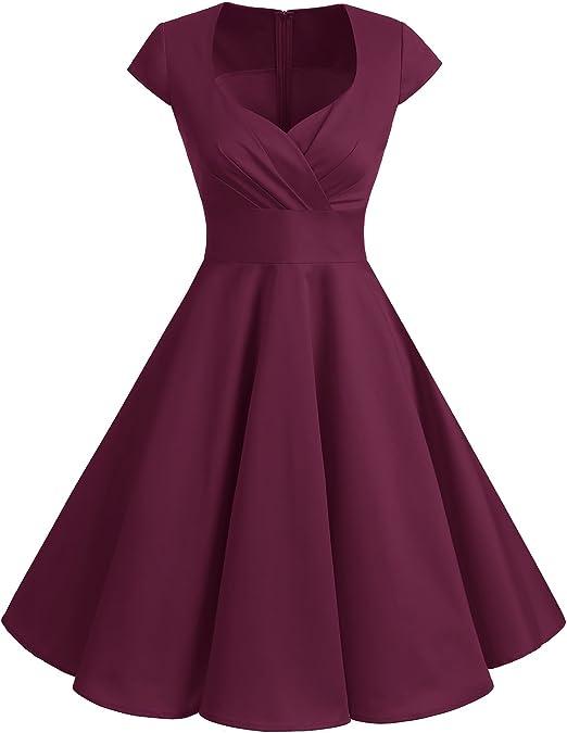 TALLA 3XL. Bbonlinedress Vestido Corto Mujer Retro Años 50 Vintage Escote Burgundy 3XL