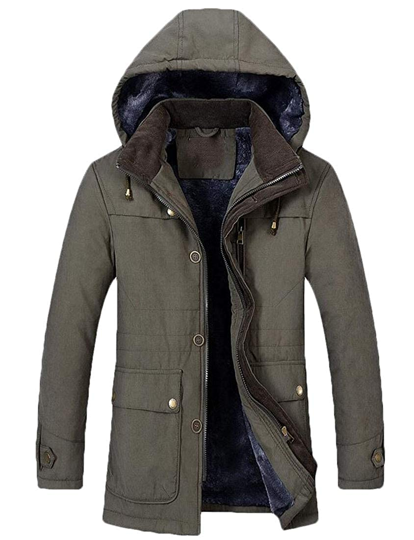 Spirio Men Stand Collar Hooded Stylish Quilted Linen Fleece Down Jacket
