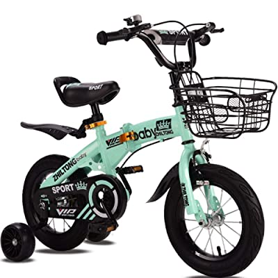 LINGS Foldable Bicycle Kids' Bikes Boy 2-8 Years Old Children's Bicycle Folding Baby Pedal Bicycle 12 inch Female Child Stroller Bicycle: Home & Kitchen