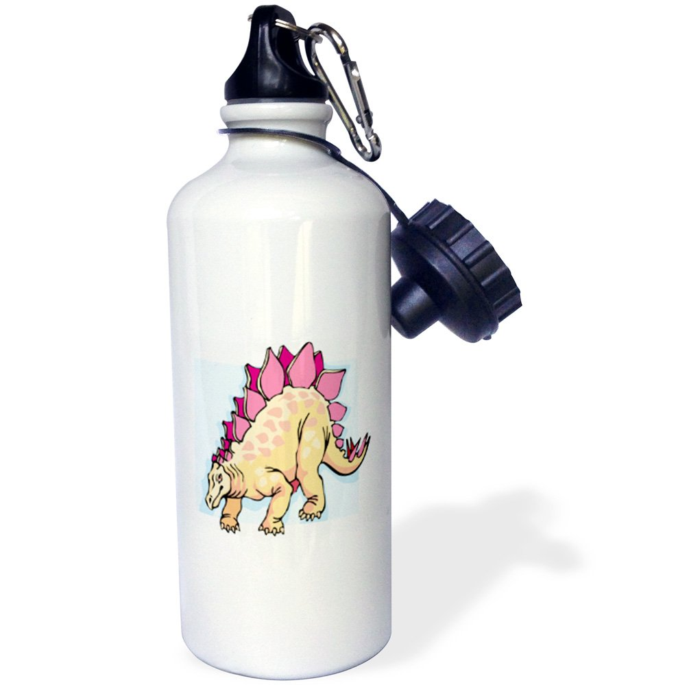 White 21 oz 3dRose wb/_47898/_1 Cartoon Beige N Pink Dinosaur Sports Water Bottle