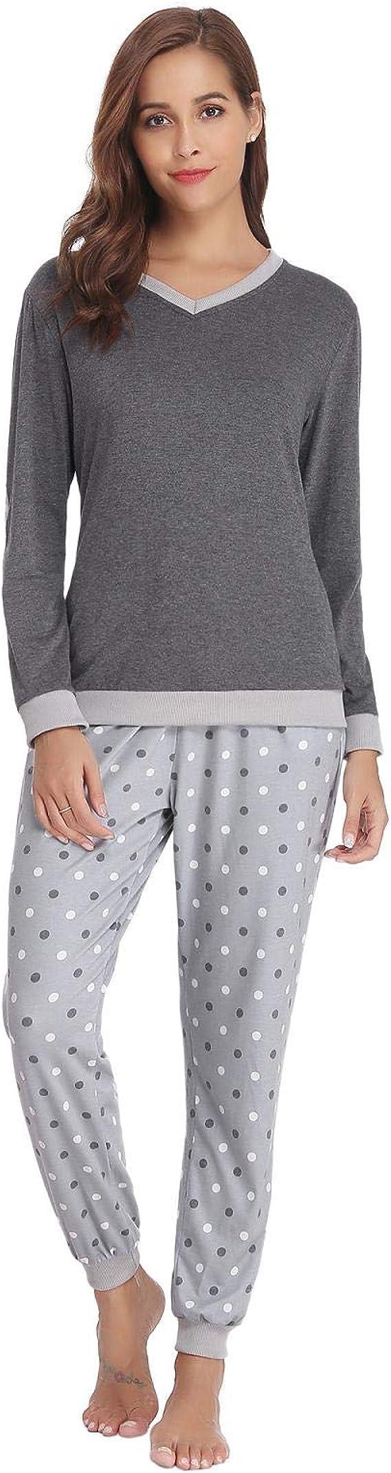 Aibrou Damen Zweiteiliges Pyjama Set Lange /Ärmel lose Schlafanzug mit B/ündchen am Taille