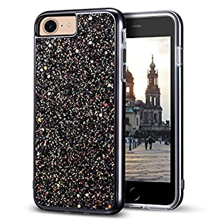 """iPhone 7 Glitter Case, iPhone 8 Case, MIRACASE Bling Sparkle Dual Layer Hard PC Cover Soft TPU Inner Shockproof Glitter Case for iPhone 7/8 / 6 /6S (4.7""""), Black"""