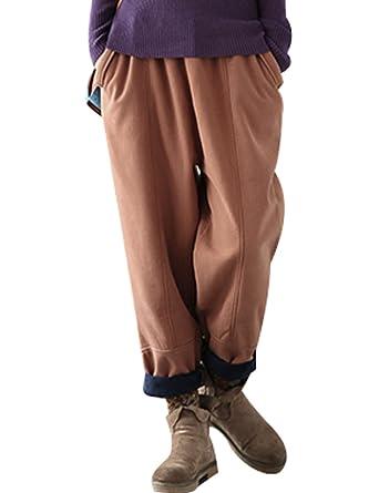 Automne Pantalon Chaud Hiver Elastique Youlee Taille Femmes Épais xoWrBCeQdE