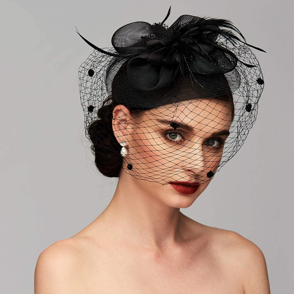 Feather Net Kentucky Derby Hat Fascinators Headpiece Wedding Special Occasion with Birdcage Veil Floral Flower