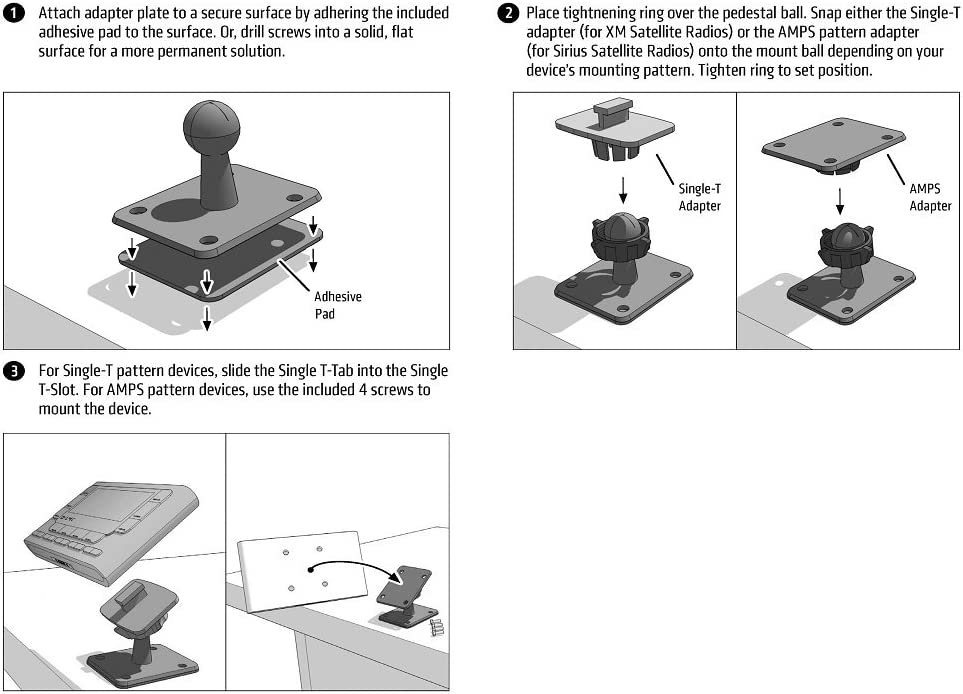 Small Dual T-Notch Mounting Pedestal for Sirius and XM Satellite Radio Receivers