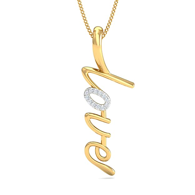Kuberbox Yellow Gold and Diamond Priceless Love Pendant Pendants